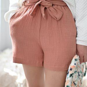 Short en gaze de coton rose Robin