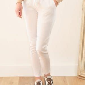 Pantalon Paperbag blanc Orlando