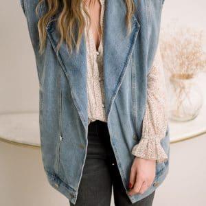 veste en jean sans manches liv