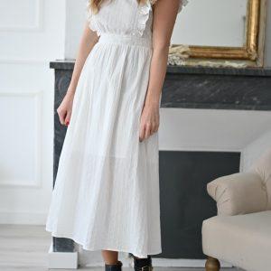 Robe longue blanche Victorine