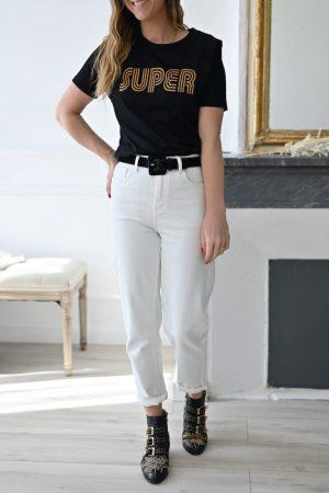 Tee shirt manche courtes noir Super