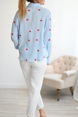 chemise gaze de coton bleu Prisca