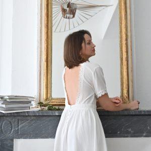 Robe Tara dos nu blanche
