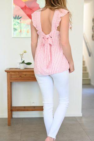 Blouse June rayée rose