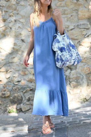 Robe gaze de coton bleu Pia