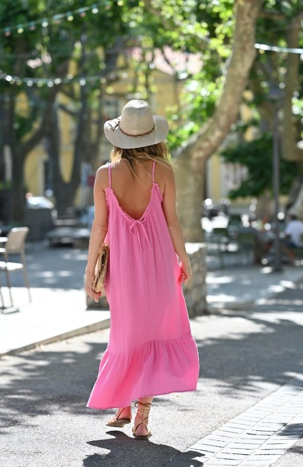 robe longue gaze de coton Pia fushia
