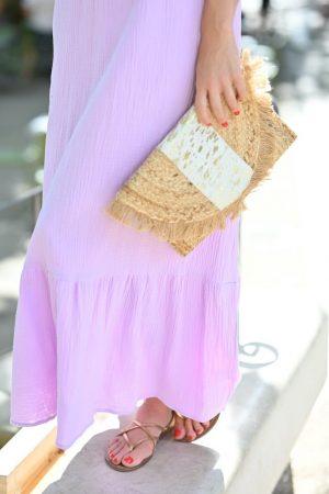 Robe lila gaze de coton Pia