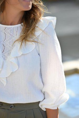 Blouse gaze de coton blanc Sheryl