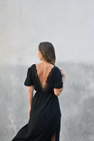 Robe longue noir dos nu Isabeau