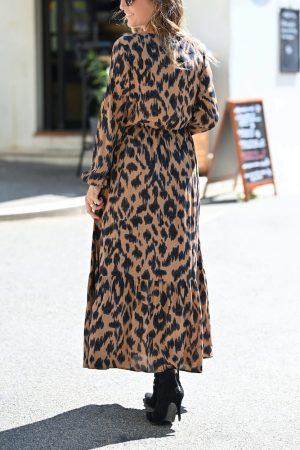 Robe longue léopard Jacinthe