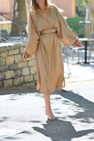 Robe longue satin camel doré Ornelle