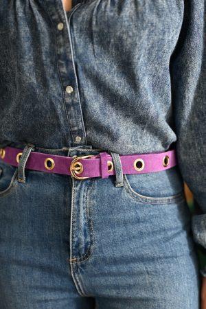 Ceinture à oeillet en daim violet Anyse