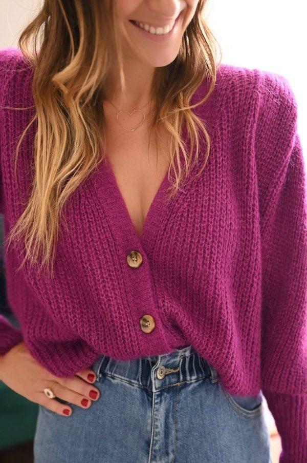 Gilet à épaulettes Baptiste violet