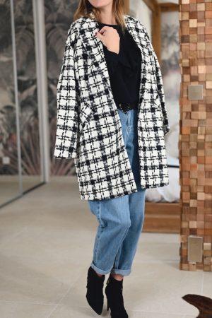 Manteau à carreaux noir blanc Raymond