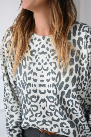 Pull léopard gris écru Clémens