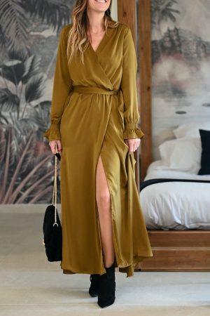 Robe longue Satin kaki Calista
