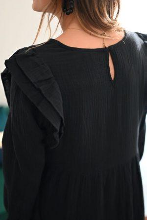 Robe gaze de coton noir Delphine