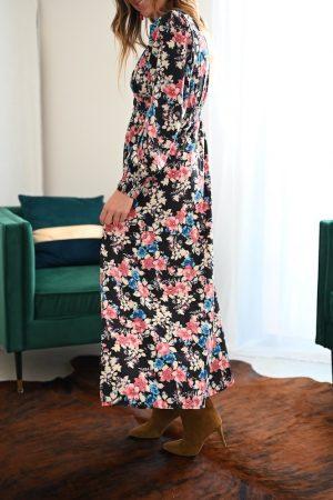 Robe longue imprimée fleurs Eve