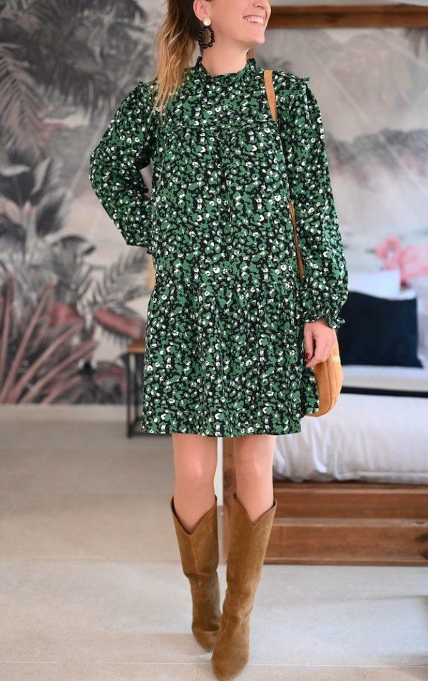 Robe courte vert sapin Sarine